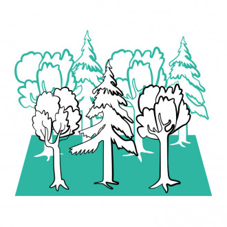 Illustration eines Waldes bestehend aus 3 Bäumen im Vordergrund und 4 im Hintergrund